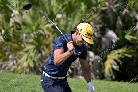 Rafa Cabrera Bello, of Spain, slams his driver in frustration after hitting his tee shot on the 13th hole during the final round of the Workday Championship golf tournament, in Bradenton, Fla