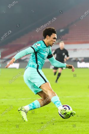 Liverpool defender Trent Alexander-Arnold (66) during the Premier League match between Sheffield United and Liverpool at Bramall Lane, Sheffield