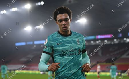 Trent Alexander-Arnold of Liverpool reacts during the English Premier League soccer match between Sheffield United and Liverpool FC in Sheffield, Britain, 28 February 2021.