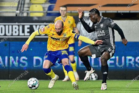 STVV's Steve De Ridder and Eupen's Konan N'Dri fight for the ball during a soccer match between Sint-Truiden VV and KAS Eupen, Sunday 28 February 2021 in Sint-Truiden, on day 28 of the 'Jupiler Pro League' first division of the Belgian championship.