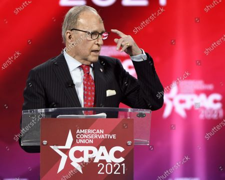 Stock Picture of Larry Kudlow, Former Assistant to the President for Economic Policy, addresses attendees at the Conservative Political Action Conference