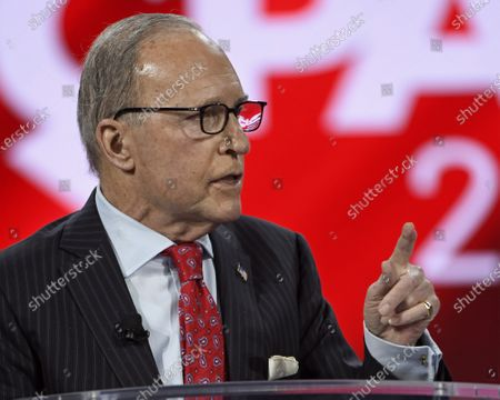 Stock Image of Larry Kudlow, Former Assistant to the President for Economic Policy, addresses attendees at the Conservative Political Action Conference
