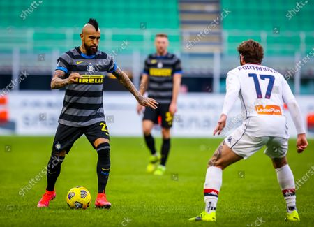Arturo Vidal of FC Internazionale in action during the Serie A 2020/21 match between FC Internazionale vs Genoa CFC at the San Siro Stadium. (Final Score; FC Internazionale 3:0 Genoa CFC)
