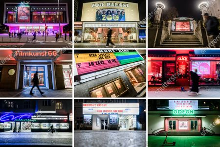 A composite photo shows illuminated cinemas (upper row, L-R): Kino International, Zoo Palast, Delphi (center row, L-R): Filmkunst 66, Kant Kino and Klick Kino and (lower row, L-R): EVA Lichtspiele, Bundesplatz Kino and Odeon, on the occasion of the event 'Cinema lights up. For you' (Kino leuchtet. Fuer Dich) in Berlin, Germany, 28 February 2021, a day before the official start of the 71st Berlinale, which this year is a virtual event running from 01 to 05 March. The cinema operators event aims to draw attention for the situation of the still closed cinemas in Germany, due to restrictions of the coronavirus pandemic.