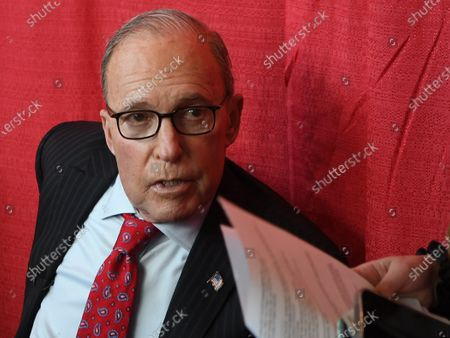 Larry Kudlow, former Director of the National Economic Council, waits for a media interview at the 2021 Conservative Political Action Conference at the Hyatt Regency where former President Trump is scheduled to speak.