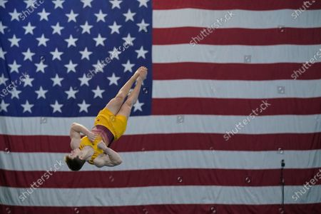 Michael Moran performs in the floor exercise during the Winter Cup gymnastics competition, in Indianapolis