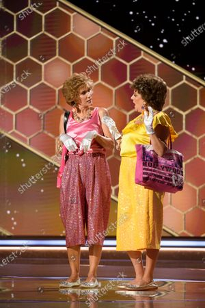 Handout image released by the Hollywood Foreign Press Association showing Kristen Wiig and Annie Mumolo perform during the 78th annual Golden Globe Awards ceremony at the Beverly Hilton Hotel, in Beverly Hills, California, USA, 28 February 2021.
