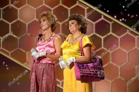 Stock Photo of Handout image released by the Hollywood Foreign Press Association showing Kristen Wiig and Annie Mumolo perform during the 78th annual Golden Globe Awards ceremony at the Beverly Hilton Hotel, in Beverly Hills, California, USA, 28 February 2021.