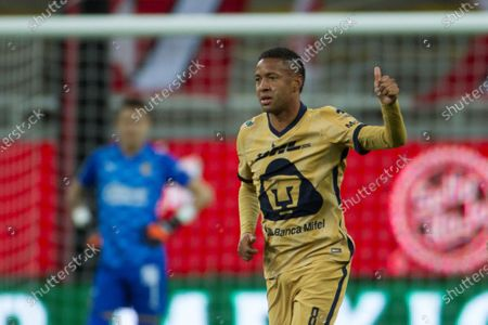 Gabriel Torres of Pumas of UNAM celebrates after scoring against Chivas during a Guardians 2021 tournament soccer match at the Akron stadium in Guadalajara, Mexico, 28 February 2021.