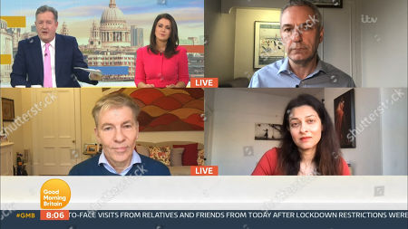 Piers Morgan, Susanna Reid, Kevin Maguire, Andrew Pierce and Professor Devi Sridhar