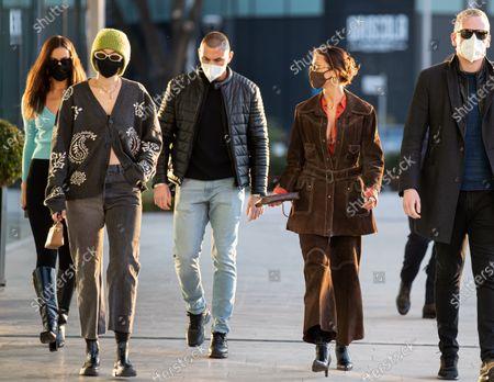 Stock Photo of Irina Shayk, Gigi Hadid and Bella Hadid are leaving the Versace's headquarters