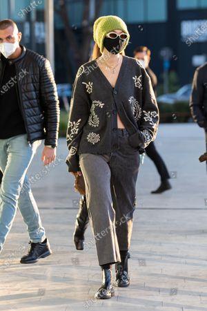Gigi Hadid leaving the Versace's headquarters