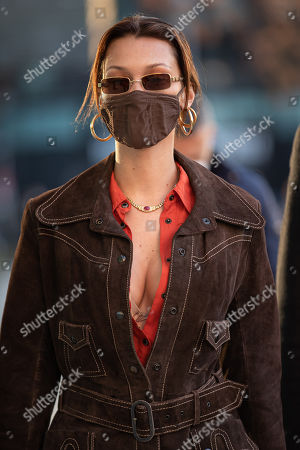 Stock Picture of Bella Hadid is leaving the Versace's headquarters