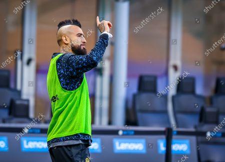 Arturo Vidal of FC Internazionale gestures