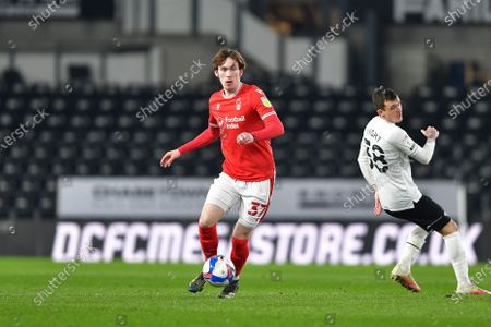 James Garner (37) of Nottingham Forest in action during the Sky Bet Championship match between Derby County and Nottingham Forest at the Pride Park, Derby on Friday 26th February 2021.  (Photo by Jon Hobley/MI News/NurPhoto)