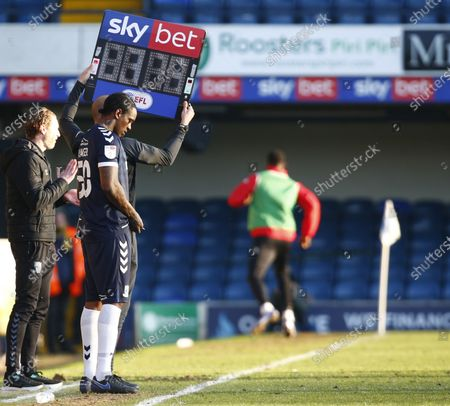 Nile Ranger of Southend United coming on for his Debut during Sky Bet League Two between Southend United and Salford City at Roots Hall Stadium , Southend, UK on 27th February 2021  (Photo by Action Foto Sport/NurPhoto)