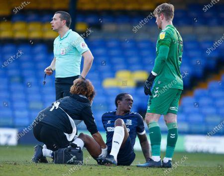 Stock Picture of Nile Ranger of Southend United picks up a injury during Sky Bet League Two between Southend United and Salford City at Roots Hall Stadium , Southend, UK on 27th February 2021  (Photo by Action Foto Sport/NurPhoto)