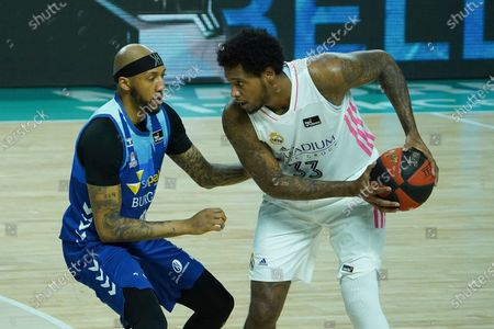 Trey Thompkins  of Real Madrid in action during the Liga ACB match between Real Madrid and Hereda San Pablo Burgos at Wizink Center on February 27, 2021 in Madrid, Spain.  (Photo by Oscar Gonzalez/NurPhoto)