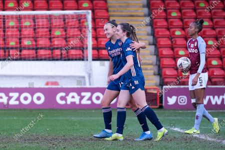 Stock Picture of Lisa Evans (#17 Arsenal) celebrates scoring the 4:0 goal during the FA Womens Super League match between Aston Villa and Arsenal at Banks's Stadium in Walsall, England.