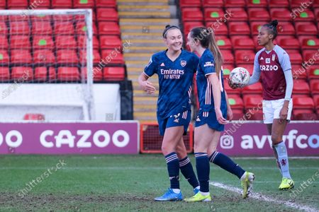 Lisa Evans (#17 Arsenal) celebrates scoring the 4:0 goal during the FA Womens Super League match between Aston Villa and Arsenal at Banks's Stadium in Walsall, England.