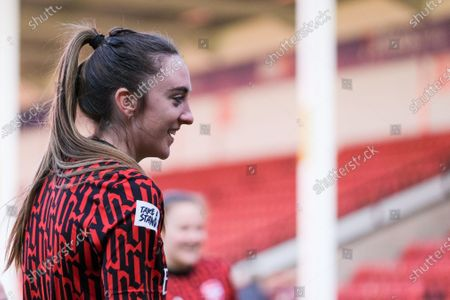 Lisa Evans (#17 Arsenal) during warm up prior to the FA Womens Super League match between Aston Villa and Arsenal at Banks's Stadium in Walsall, England.
