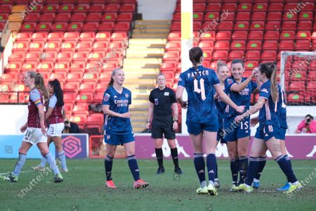 Lisa Evans (#17 Arsenal) celebrates her goal during the FA Womens Super League match between Aston Villa and Arsenal at Banks's Stadium in Walsall, England.