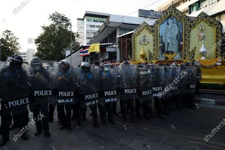 Riot police stand guard as anti-government protesters march toward the residence of Thailand's Prime Minister Prayut Chan-O-Cha in Bangkok Thailand, 28 February 2021. (Photo by Anusak Laowilas/NurPhoto)