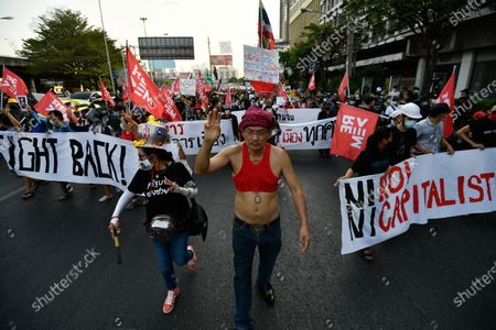 Anti-government protesters rally in Bangkok as marching toward the residence of Thailand's Prime Minister Prayut Chan-O-Cha on February 28, 2021 in Bangkok, Thailand. (Photo by Vachira Vachira/NurPhoto)