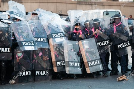 Editorial image of Anti-Government Face Off Against Riot Police During A Protest In Bangkok, Thailand - 28 Feb 2021