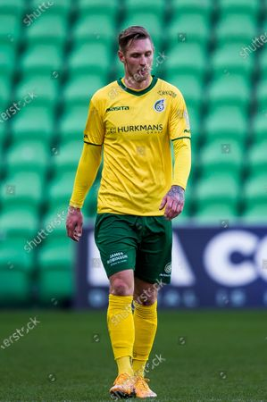 (lr) Sebastian Polter of Fortuna Sittard during the Dutch Eredivisie match between FC Groningen and Fortuna Sittard at the Hitachi Capital Mobility stadium on February 28, 2021 in Groningen, The Netherlands.
