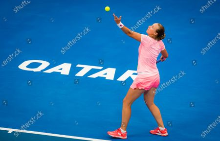 Stock Image of Anna Blinkova of Russia in action during her first round match at the 2021 Qatar Total Open WTA 500 tournament