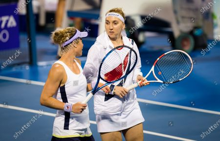 Elena Vesnina of Russia playing doubles with Laura Siegemund at the 2021 Qatar Total Open WTA 500 tournament