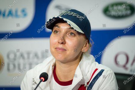 Elena Vesnina of Russia talks to the media at the 2021 Qatar Total Open WTA 500 tournament