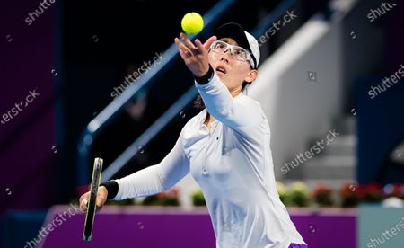 Stock Picture of Saisai Zheng of China in action during her first-round match at the 2021 Qatar Total Open WTA 500 tournament