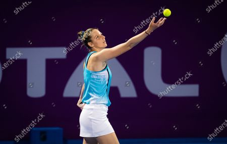 Kristyna Pliskova of the Czech Republic in action during her first round match at the 2021 Qatar Total Open WTA 500 tournament