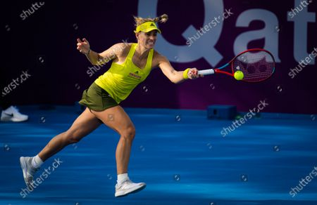 Angelique Kerber of Germany in action during her second-round match at the 2021 Qatar Total Open WTA 500 tournament