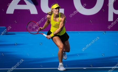 Stock Photo of Angelique Kerber of Germany in action during her second-round match at the 2021 Qatar Total Open WTA 500 tournament