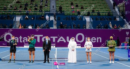 Nicole Melichar of the United States & Demi Schuurs of the Netherlands & Monica Niculescu of Romania & Jelena Ostapenko of Latvia with their champions trophies doubles final of the 2021 Qatar Total Open WTA 500 tournament