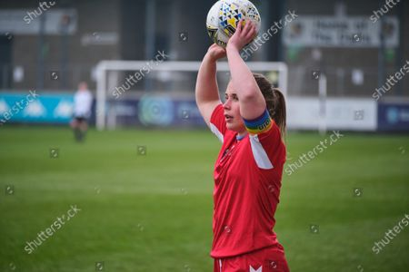 Sarah Wilson (c) (#5 DURHAM) takes throw in during the FA Women's Championship game between London City Lionesses and Durham at Princes Park in Dartford