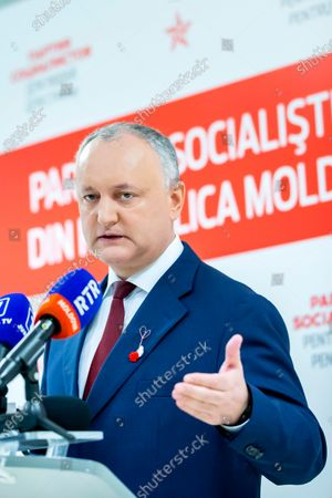 The head of Socialist Party and former President of Moldova Igor Dodon speaks to the media at socialists headquarter in Chisinau, Moldova, 01 March 2021. Dodon speaks about political crisis in Moldova, the government and early parliamentary elections.