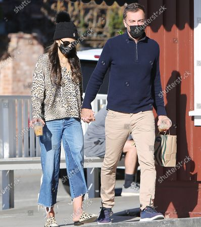 Editorial picture of Jordana Brewster and husband out and about, Brentwood Country Mart, Los Angeles, California, USA - 25 Feb 2021
