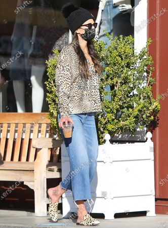 Editorial photo of Jordana Brewster and husband out and about, Brentwood Country Mart, Los Angeles, California, USA - 25 Feb 2021