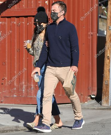 Editorial image of Jordana Brewster and husband out and about, Brentwood Country Mart, Los Angeles, California, USA - 25 Feb 2021