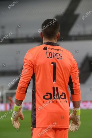 OL's goalkeeper Anthony Lopes during the French League One soccer match between Marseille and Lyon at the Stade Veledrome stadium in Marseille, France, Sunday, Feb. 28, 2021.