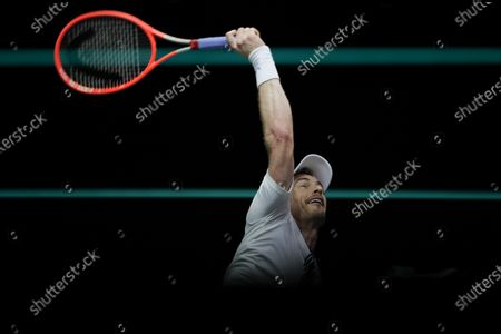 Britain's Andy Murray serves against Netherland's Robin Haase during their first round men's singles match of the ABN AMRO world tennis tournament at Ahoy Arena in Rotterdam, Netherlands