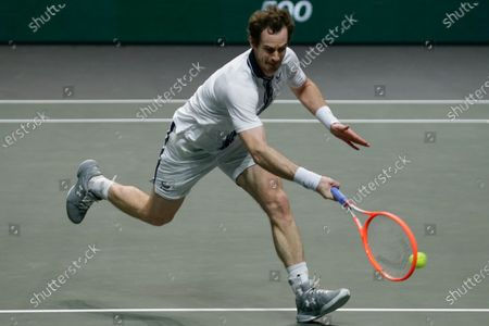 Britain's Andy Murray plays a shot against Netherland's Robin Haase during their first round men's singles match of the ABN AMRO world tennis tournament at Ahoy Arena in Rotterdam, Netherlands