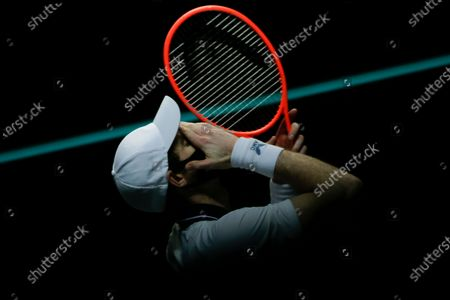 Britain's Andy Murray reacts during a post-match interview and target hitting challenge after defeating Netherland's Robin Haase in three sets 2-6, 7-6, 6-3, in their first round men's singles match of the ABN AMRO world tennis tournament at Ahoy Arena in Rotterdam, Netherlands