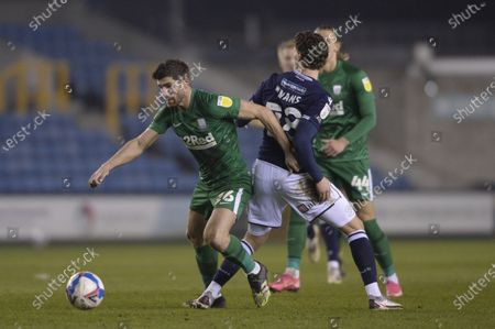 Jon Dadi Bodvarsson of Millwall and Ched Evans of Preston North End in action during the Sky Bet Championship, Championship match between Millwall and Preston North End at The Den in London - 2nd March 2021