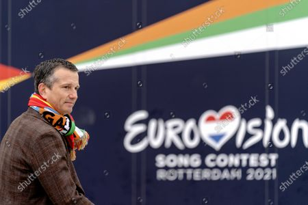 Stock Image of Director of the ABN AMRO tennis tournament, Richard Krajicek, resets the countdown clock of the Eurovision Song Contest (ESC) in Rotterdam, The Netherlands, 01 March 2021. The clock counts back daily to the final of the 65th edition of the music contest at Rotterdam Ahoy on 22 May. The 48th edition of the tennis tournament takes place at the same location from 01 and 07 March.