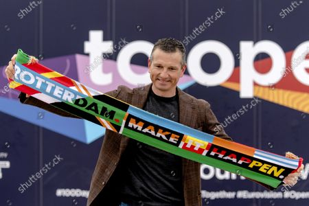 Director of the ABN AMRO tennis tournament, Richard Krajicek, resets the countdown clock of the Eurovision Song Contest (ESC) in Rotterdam, The Netherlands, 01 March 2021. The clock counts back daily to the final of the 65th edition of the music contest at Rotterdam Ahoy on 22 May. The 48th edition of the tennis tournament takes place at the same location from 01 and 07 March.